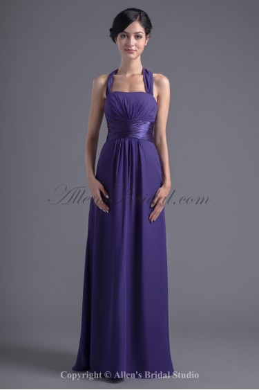 Chiffon Halter Neckline Column Floor Length Prom Dress