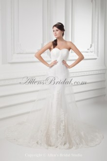 Satin and Net Sweetheart Neckline Sheath Sweep Train Embroidered Wedding Dress