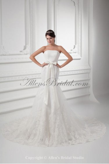 Satin and Lace Strapless Mermaid Chapel Train Sash Wedding Dress