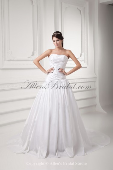 Taffeta Strapless Chapel Train Ball Gown Wedding Dress with Beading