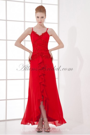 Chiffon Spaghetti Neckline A-line Asymmetrical Embroidered Prom Dress