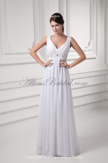 Chiffon V-Neckline Column Floor Length Embroidered Wedding Dress