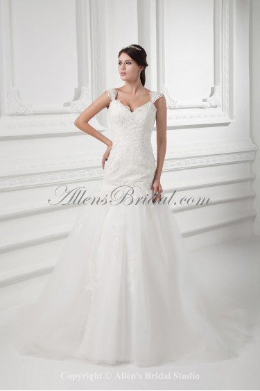 Satin and Tulle Straps Neckline Ball Gown Floor Length Embroidered Wedding Dress