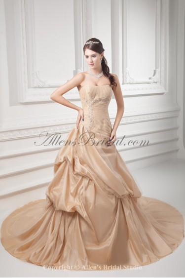 Taffeta Strapless A-line Chapel Train Embroidered Wedding Dress