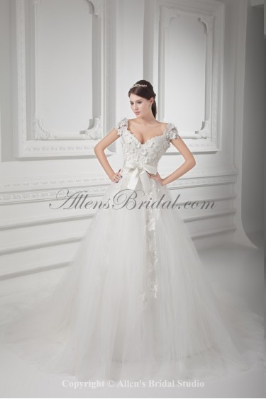 Satin and Net V-Neckline Ball Gown Sweep Train Flowers Wedding Dress