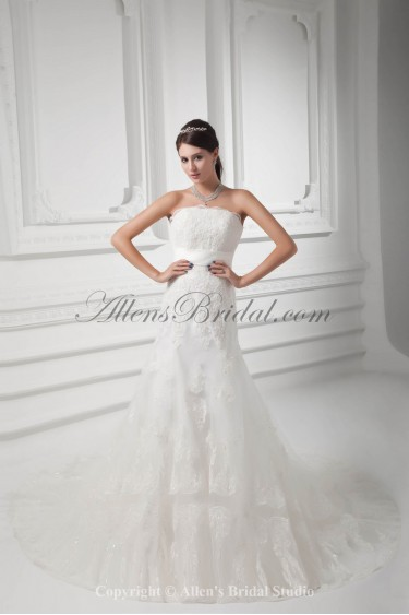 Satin and Lace Strapless A-line Chapel Train Wedding Dress