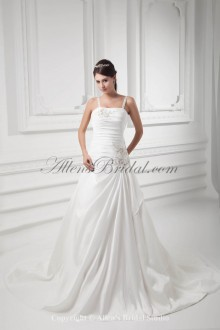 Satin Spaghetti Neckline A-line Sweep Train Embroidered Wedding Dress