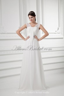 Chiffon Straps Neckline A-line Sweep Train Wedding Dress