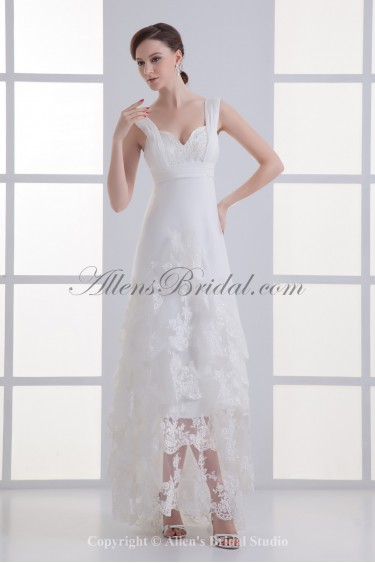 Satin and Lace Straps Neckline A-line Ankle-Length Embroidered Wedding Dress