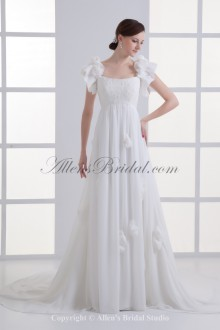 Chiffon Scoop Neckline A-line Sweep Train Hand-made Flowers Wedding Dress