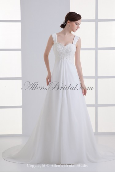 Chiffon Straps Neckline Sweep Train Empire Wedding Dress with Embroidered