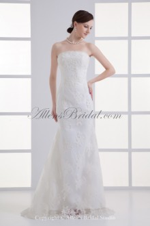 Satin and Net Strapless Neckline Sheath Floor Length Embroidered Wedding Dress