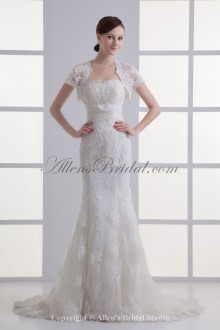 Satin and Net Strapless Neckline Sheath Sweep Train Embroidered Wedding Dress with Jacket