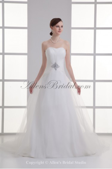 Satin and Net Sweetheart A-line Floor Length Crystals Wedding Dress