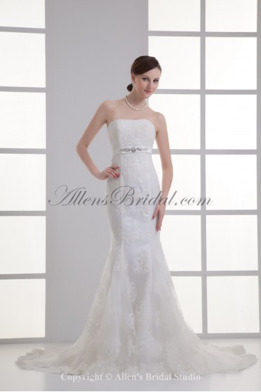 Satin and Lace Strapless Mermaid Chapel Train Crystals Wedding Dress