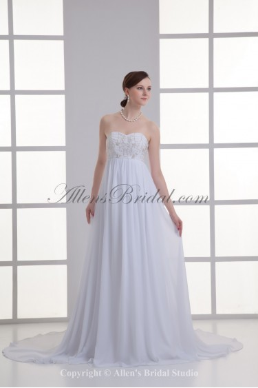 Chiffon Sweetheart Empire Chapel Train Embroidered Wedding Dress