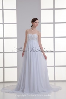 Chiffon Sweetheart Neckline Column Sweep train Embroidered Wedding Dress