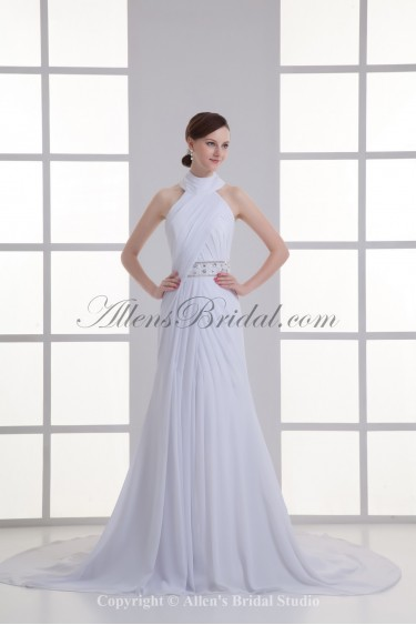 Chiffon High Collar Neckline Column Chapel Train Wedding Dress