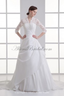 Satin Strapless Neckline A-line Sweep train Gathered Ruched Wedding Dress with Jacket