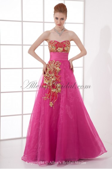 Organza Sweetheart Neckline A-line Floor Length Embroidered Prom Dress