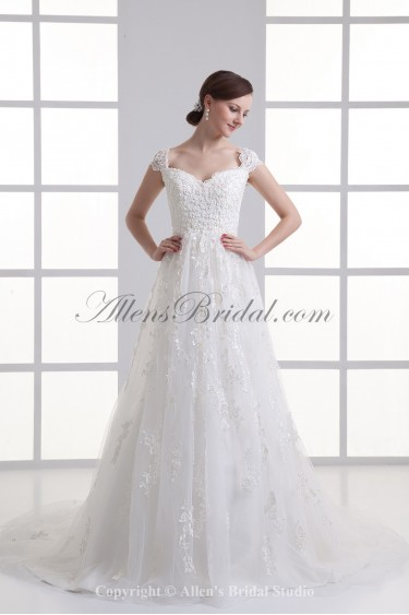 Lace Off-the-Shoulder A-Line Sweep Train Wedding Dress