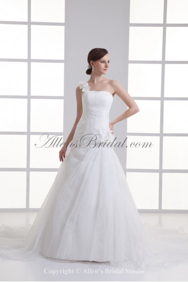 Organza One-Shoulder Ball Gown Sweep Train Flowers Wedding Dress