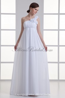 Chiffon One-shoulder Neckline Empire line Floor Length Hamd-made Flowers Wedding Dress