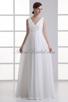 Chiffon V-Neckline Empire line Floor Length Bead Wedding Dress