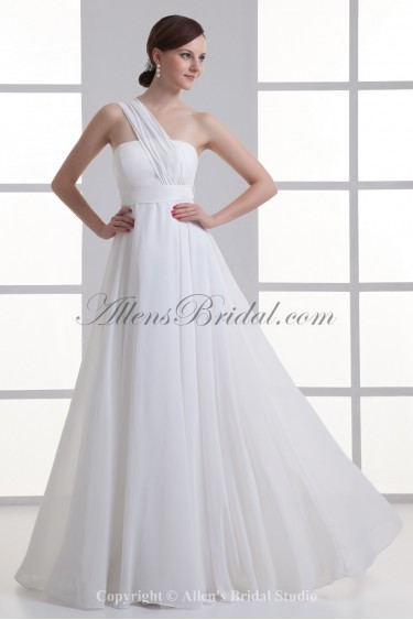 Chiffon One-shoulder Empire Line Floor Length Sash Wedding Dress