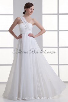 Chiffon One-shoulder Neckline A-line Floor Length Sash Wedding Dress