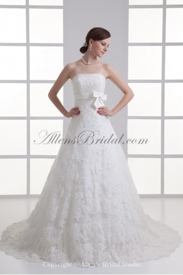 Satin and Lace Strapless A-line Sweep Train Sash Wedding Dress