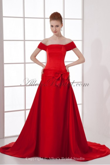 Satin Off-the-Shoulder Neckline A-line Chapel Train Bow Prom Dress