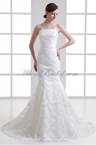 Satin and Lace Strapless Mermaid Sweep Train Wedding Dress