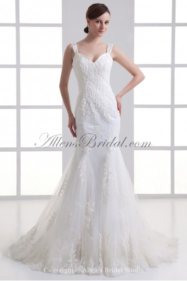Satin and Lace Straps Neckline Mermaid Sweep Train Embroidered Wedding Dress