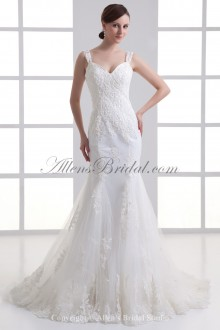 Satin and Net Straps Neckline Sheath Sweep Train Embroidered Wedding Dress