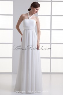 Chiffon Halter Neckline Column Floor Length Wedding Dress