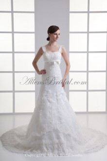 Satin and Net Straps Neckline A-line Sweep Train Embroidered Wedding Dress