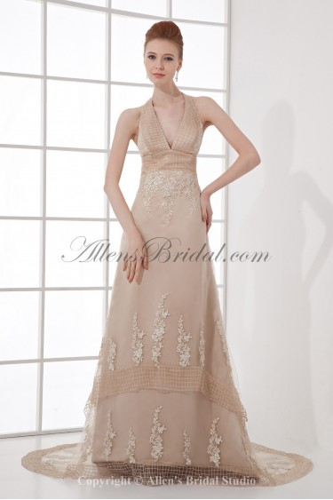 Satin and Tulle V-Neckline A-Line Sweep Train Embroidered Prom Dress