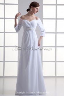 Chiffon Sweetheart Neckline Empire line Floor Length Three-quarter Sleeves Wedding Dress