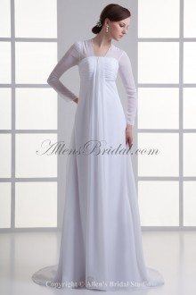 Chiffon Strapless Neckline Empire line Sweep Train Three-quarter Sleeves Wedding Dress