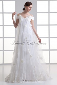 Satin and Net Spaghetti Neckline Column Sweep Train Embroidered Wedding Dress