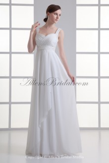Chiffon Straps Neckline Empire line Floor Length Sash Wedding Dress