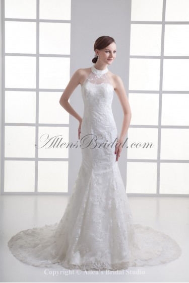Satin and Lace Halter Neckline Mermaid Chapel Train Embroidered Wedding Dress
