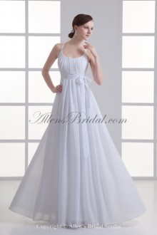 Chiffon Scoop Neckline Column Floor Length Sash Wedding Dress
