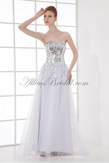 Organza Sweetheart A-Line Floor Length Sequins Prom Dress
