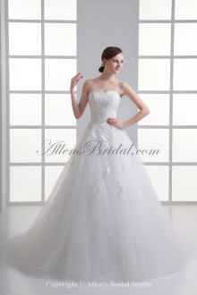 Satin and Net Sweetheart Neckline A-line Sweep Train Embroidered Wedding Dress