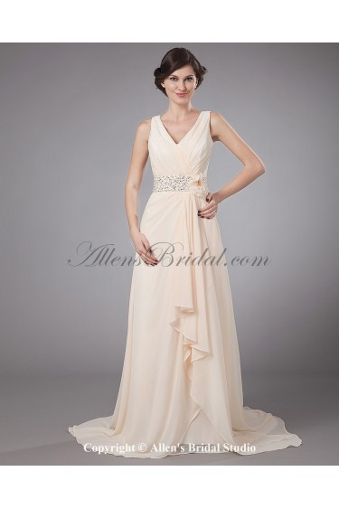 Chiffon V-Neck Sweep Train A-Line Mother Of The Bride Dress with Embroidered and Flower