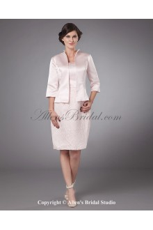 Taffeta Strapless Knee-Length Sheath Mother Of The Bride Dress with Jacket