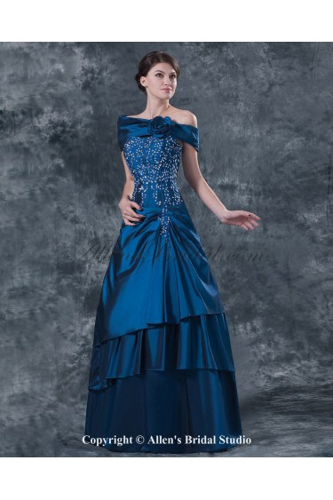 Taffeta Strapless Floor Length Ball Gown Mother Of The Bride Dress with Sequins