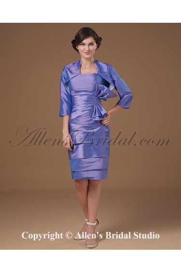 Taffeta Strapless Knee-Length Sheath Mother Of The Bride Dress with Ruffle and Jacket